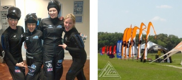 Your logo can be printed on jumpsuits and any other team attire.  Windblades are excellent for advertising at parachuting events.